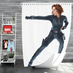Black Widow in The Avengers Movie Scarlett Johansson Shower Curtain