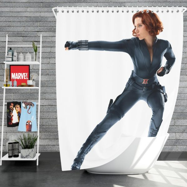 Black Widow in The Avengers Movie Scarlett Johansson Shower Curtain