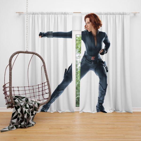 Black Widow in The Avengers Movie Scarlett Johansson Window Curtain