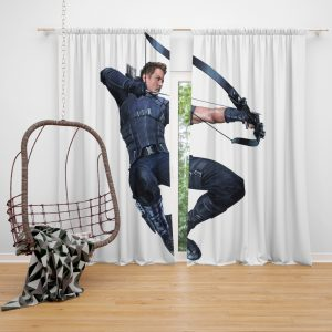 Captain America Civil War Movie Hawkeye Jeremy Renner Window Curtain