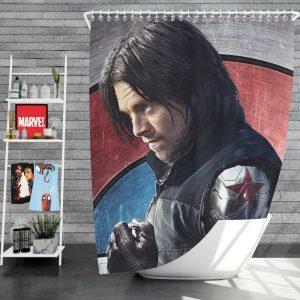 Captain America Civil War Movie Sebastian Stan Winter Soldier Shower Curtain