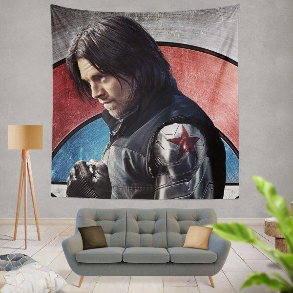 Captain America Civil War Movie Sebastian Stan Winter Soldier Wall Hanging Tapestry