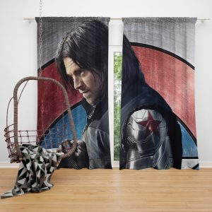 Captain America Civil War Movie Sebastian Stan Winter Soldier Window Curtain
