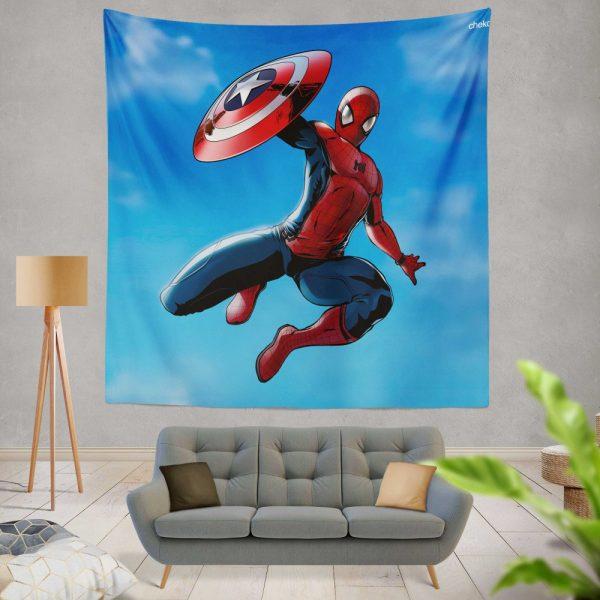 Captain America Civil War Movie Spider-Man Wall Hanging Tapestry