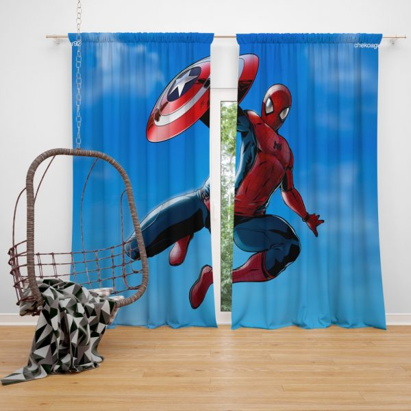 Captain America Civil War Movie Spider-Man Window Curtain