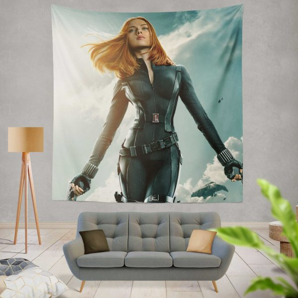 Captain America The Winter Soldier Movie Avengers Black Widow Scarlett Johansson Wall Hanging Tapestry