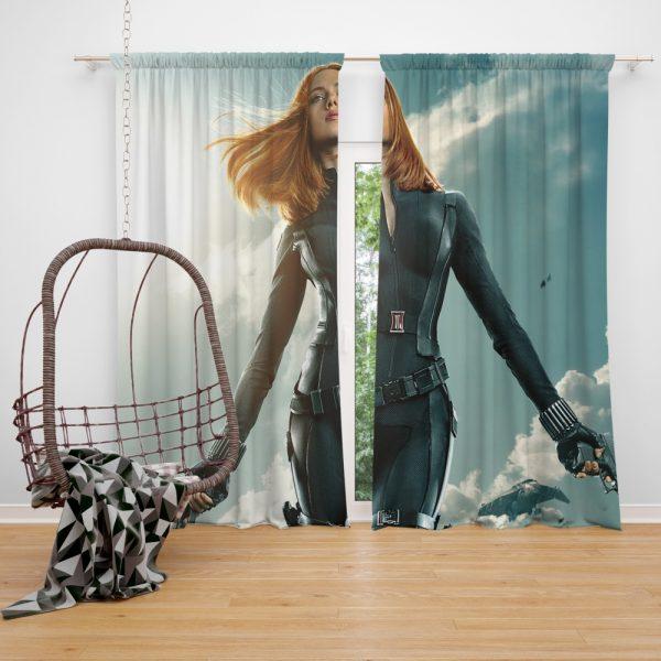 Captain America The Winter Soldier Movie Avengers Black Widow Scarlett Johansson Window Curtain