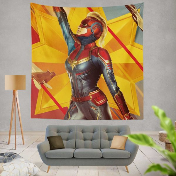 Captain Marvel Movie Brie Larson Avenger Wall Hanging Tapestry