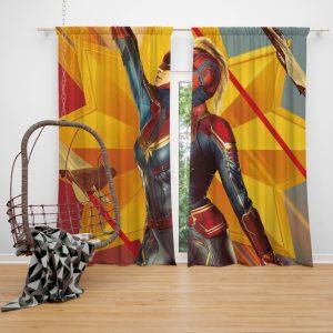 Captain Marvel Movie Brie Larson Avenger Window Curtain
