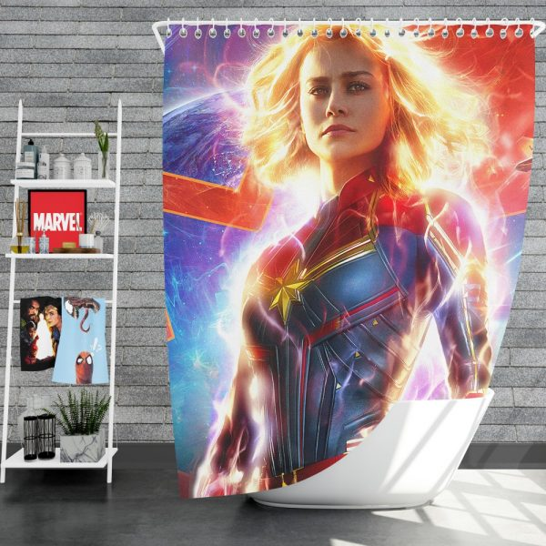 Captain Marvel Movie Brie Larson MCU Shower Curtain
