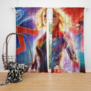 Captain Marvel Movie Brie Larson MCU Window Curtain