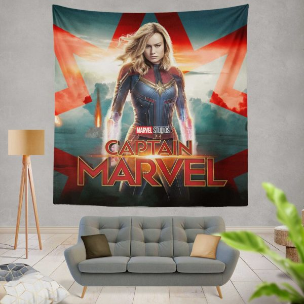Captain Marvel Movie Brie Larson Marvel Cinematic Universe Wall Hanging Tapestry