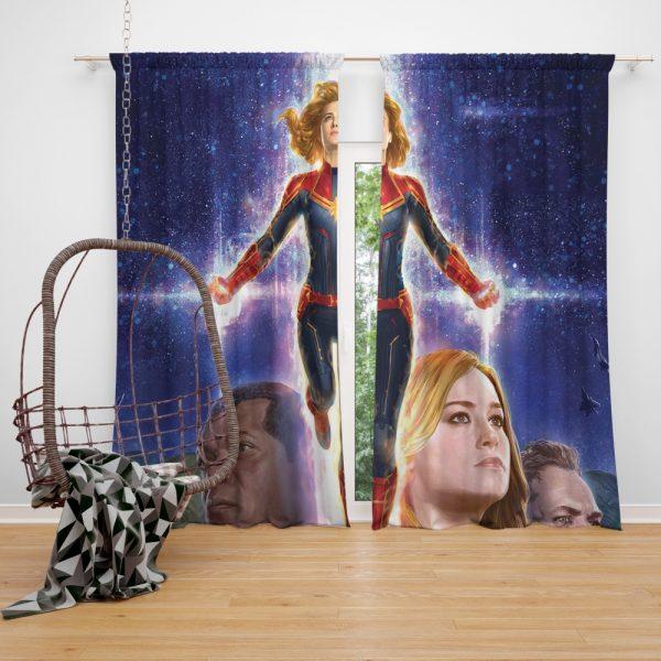 Captain Marvel Movie Brie Larson SHIELD Window Curtain