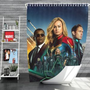 Captain Marvel Movie Carol Danvers Nick Fury Yon‑Rogg Marvel Shower Curtain