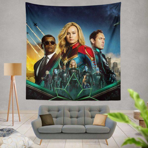 Captain Marvel Movie Carol Danvers Nick Fury Yon‑Rogg Marvel Wall Hanging Tapestry