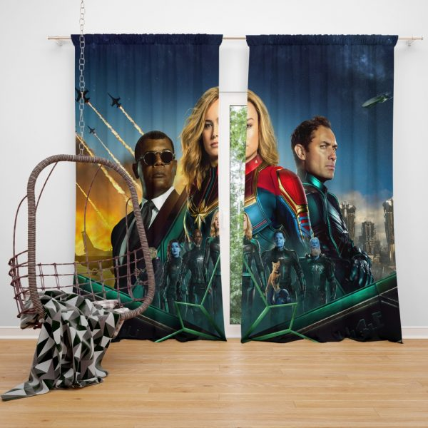 Captain Marvel Movie Carol Danvers Nick Fury Yon‑Rogg Marvel Window Curtain