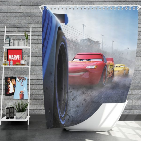Cars 3 Movie Cruz Ramirez Jackson Storm Lightning McQueen Shower Curtain