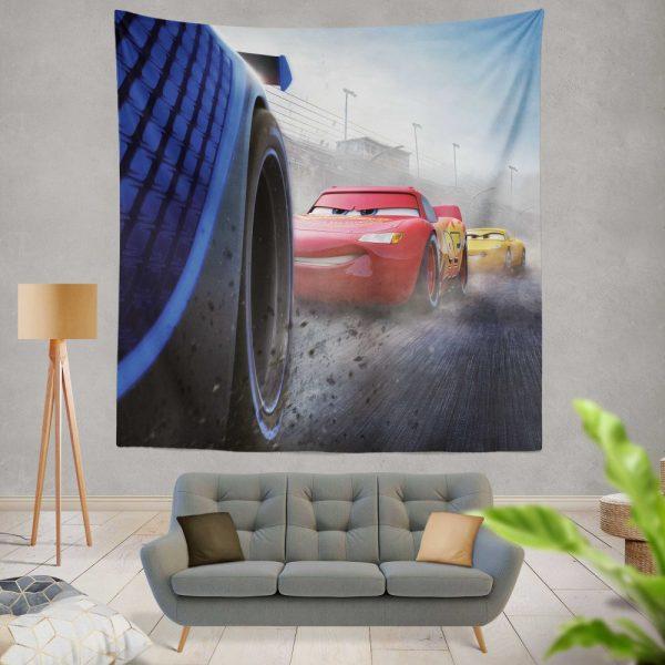 Cars 3 Movie Cruz Ramirez Jackson Storm Lightning McQueen Wall Hanging Tapestry