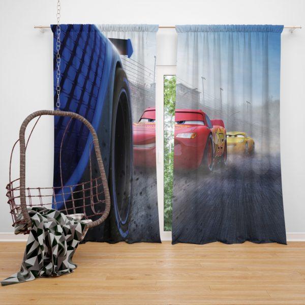 Cars 3 Movie Cruz Ramirez Jackson Storm Lightning McQueen Window Curtain