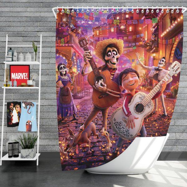 Coco Movie Coco Dante Ernesto de la Cruz Hector Imelda Rivera Shower Curtain