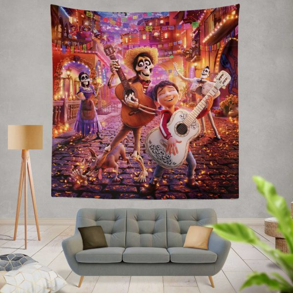 Coco Movie Coco Dante Ernesto de la Cruz Hector Imelda Rivera Wall Hanging Tapestry