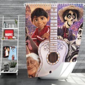 Coco Movie Dante Day of the Dead Ernesto de la Cruz Guitar Shower Curtain