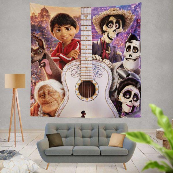 Coco Movie Dante Day of the Dead Ernesto de la Cruz Guitar Wall Hanging Tapestry