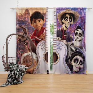 Coco Movie Dante Day of the Dead Ernesto de la Cruz Guitar Window Curtain