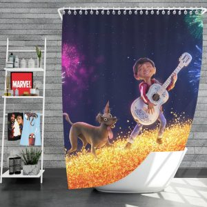 Coco Movie Dante Fireworks Miguel Rivera Shower Curtain