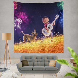 Coco Movie Dante Fireworks Miguel Rivera Wall Hanging Tapestry
