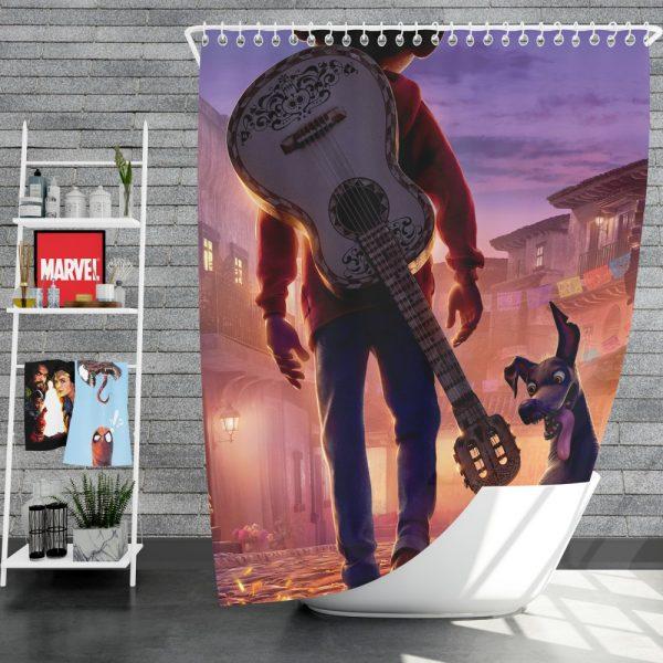 Coco Movie Dante Guitar Miguel Rivera Shower Curtain