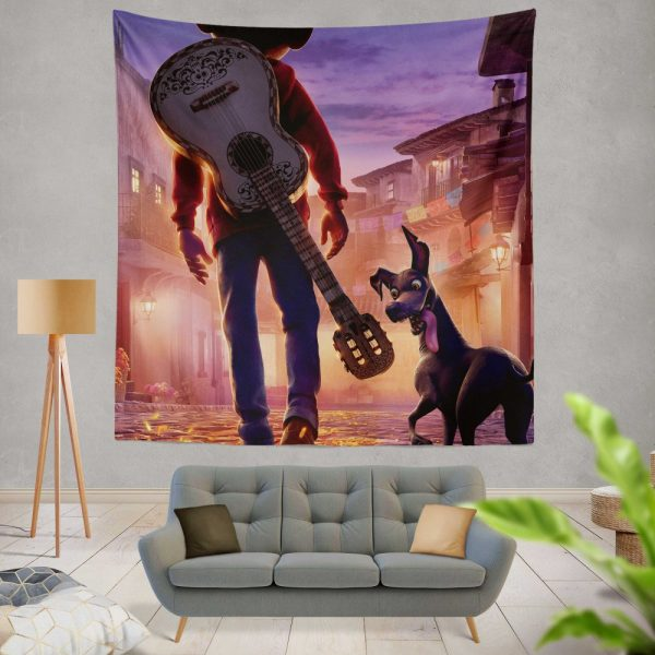 Coco Movie Dante Guitar Miguel Rivera Wall Hanging Tapestry