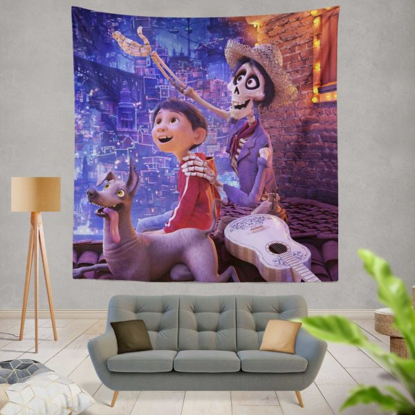 Coco Movie Dante Hector Miguel Rivera Wall Hanging Tapestry