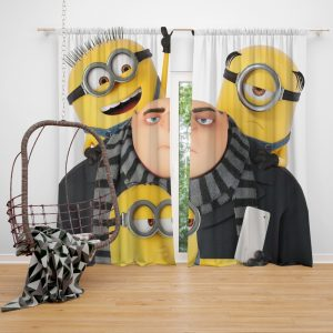 Despicable Me 3 Movie Bob Gru KevinStuart Window Curtain