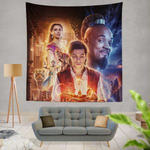 Disney Aladdin Movie Will Smith Mena Massoud Naomi Scott Wall Hanging Tapestry