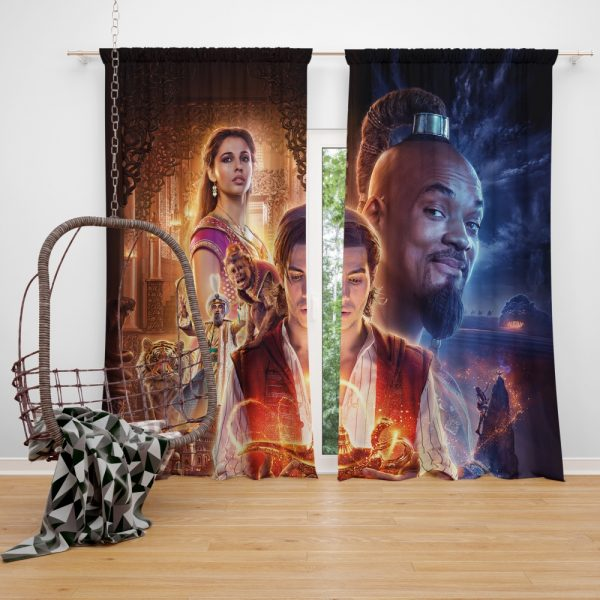 Disney Aladdin Movie Will Smith Mena Massoud Naomi Scott Window Curtain