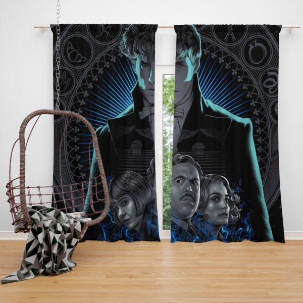 Fantastic Beasts The Crimes of Grindelwald Movie Eddie Redmayne Katherine Waterston Window Curtain