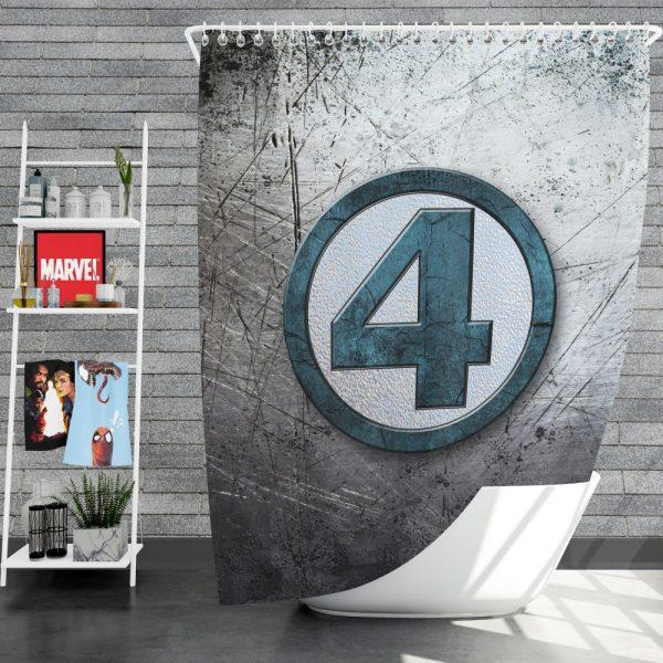 Fantastic Four Logo Marvel Comics Shower Curtain