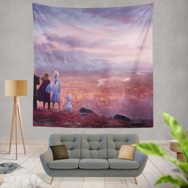 Frozen 2 Movie AnnaElsaKristoffOlafWall Hanging Tapestry