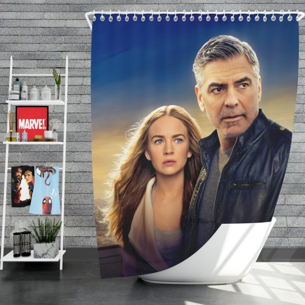 George Clooney & Brittany Robertson in Tomorrowland Movie Shower Curtain