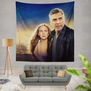 George Clooney & Brittany Robertson in Tomorrowland Movie Wall Hanging Tapestry