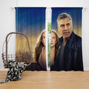 George Clooney & Brittany Robertson in Tomorrowland Movie Window Curtain