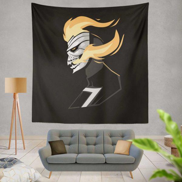Ghost Rider Movie Fire Minimalist Skull Teeth Wall Hanging Tapestry