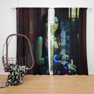 Guardians of the Galaxy Movie Gamora Zoe Saldana Window Curtain