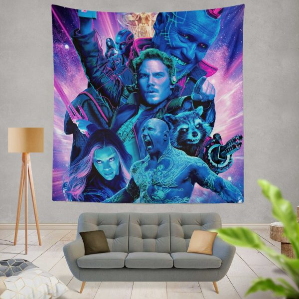 Guardians of the Galaxy Vol 2 Movie Chris Pratt Dave Bautista Drax The Destroyer Gamora Wall Hanging Tapestry