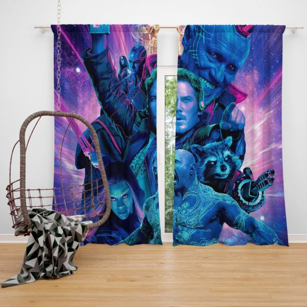 Guardians of the Galaxy Vol 2 Movie Chris Pratt Dave Bautista Drax The Destroyer Gamora Window Curtain