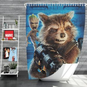 Guardians of the Galaxy Vol 2 Movie Groot Marvel Comics Rocket Raccoon Shower Curtain