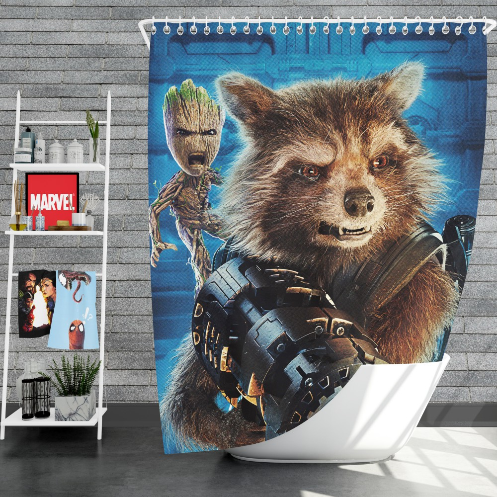 Guardians of the Galaxy Vol 2 Movie Groot Marvel Comics Rocket Raccoon  Shower Curtain