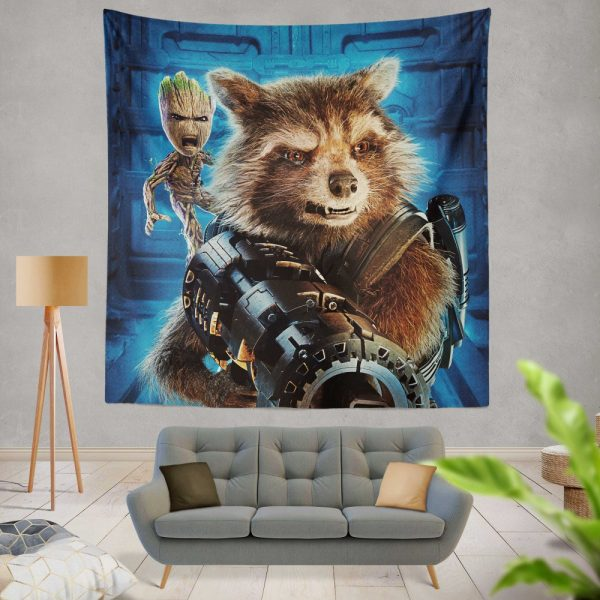 Guardians of the Galaxy Vol 2 Movie Groot Marvel Comics Rocket Raccoon Wall Hanging Tapestry