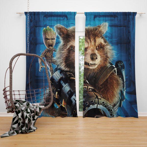 Guardians of the Galaxy Vol 2 Movie Groot Marvel Comics Rocket Raccoon Window Curtain